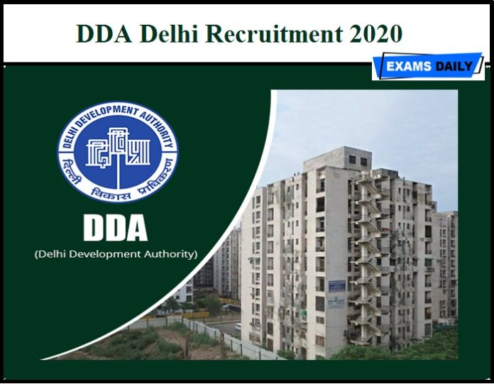 DDA Delhi Recruitment 2020
