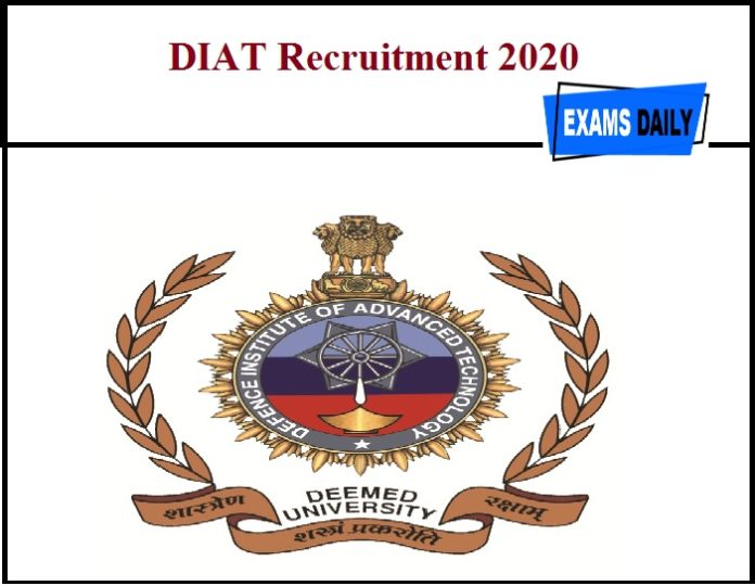DIAT Recruitment 2020 Out – SRF & JRF Vacancy!!