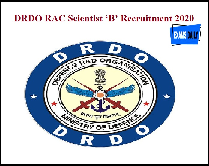 DRDO RAC Scientist 'B' Recruitment 2020