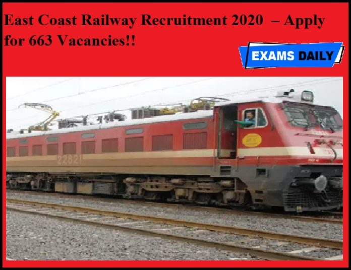 East Coast Railway Recruitment 2020 OUT – Apply for 663 Vacancies!!