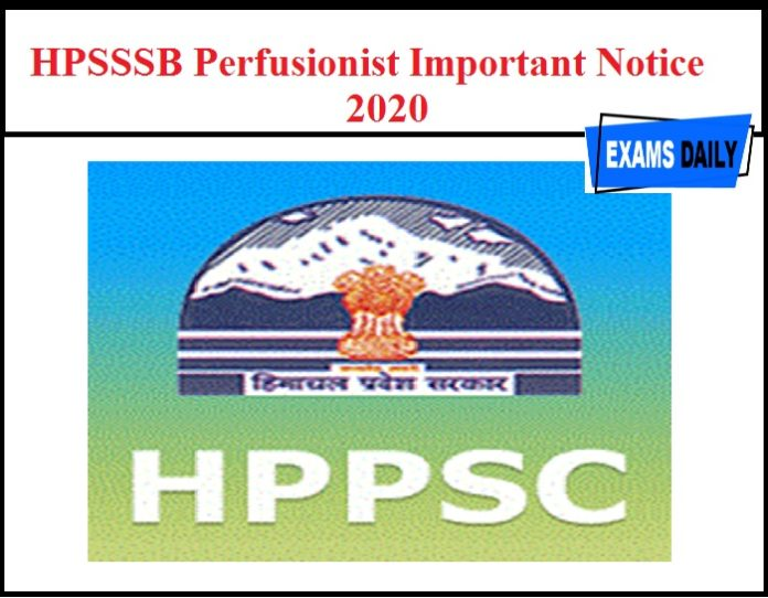 HPSSSB Perfusionist Important Notice 2020