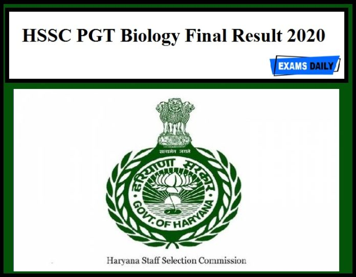 HSSC PGT Biology Final Result 2020 Out – Download Now!!