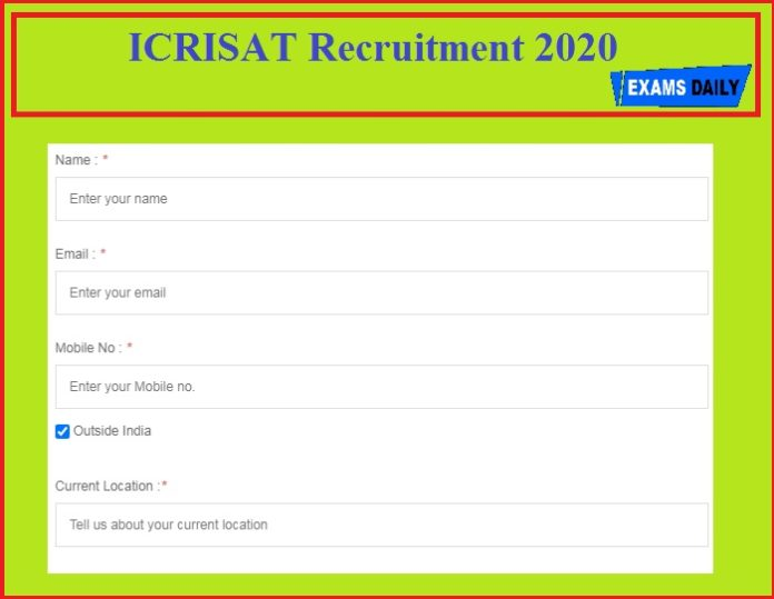ICRISAT Recruitment 2020