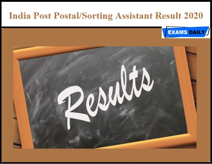 India Post Postal Sorting Assistant Result 2020