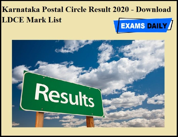 Karnataka Postal Circle Result 2020 OUT – Download LDCE Mark List