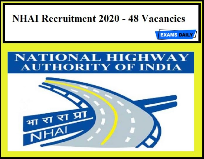NHAI Recruitment 2020 Out – Apply Now!!
