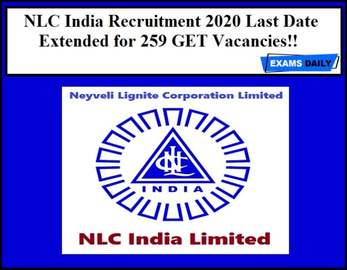 NLC India Recruitment 2020 Last Date Extended