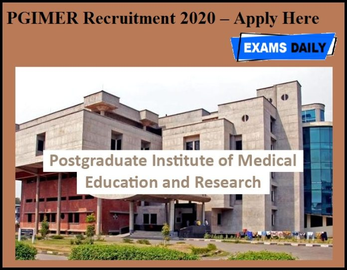 PGIMER Recruitment 2020 OUT – Apply Here