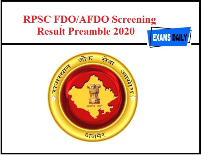 RPSC FDO AFDO Screening Result Preamble 2020