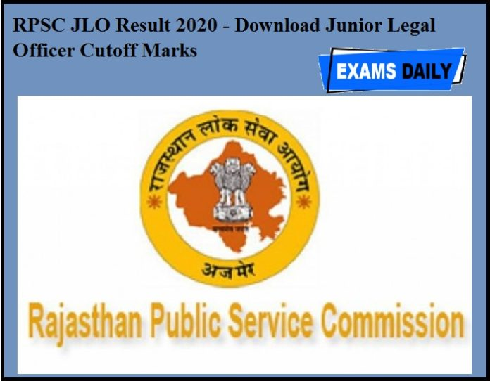 RPSC JLO Result 2019-20 OUT- Download Junior Legal Officer Cutoff Marks