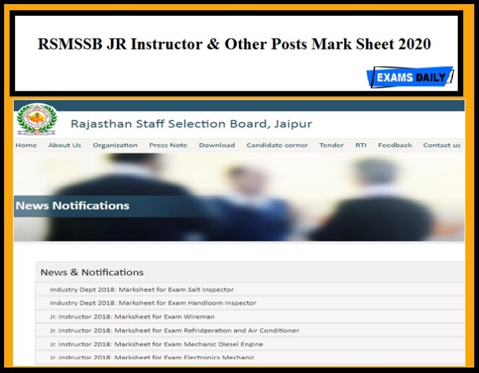 RSMSSB Mark Sheet 2020 Out for JR Instructor & Other Posts