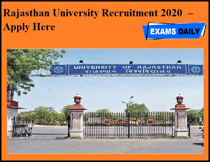 Rajasthan University Recruitment 2020 OUT – Apply Here