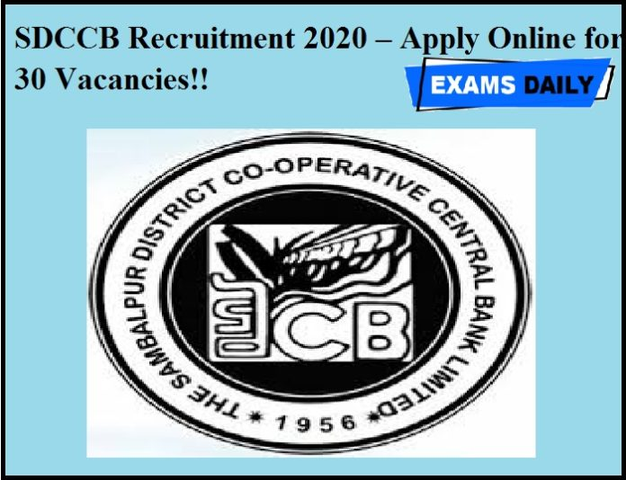 SDCCB Recruitment 2020 OUT – Apply Online for 30 Vacancies!!