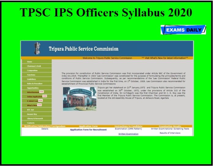 TPSC IPS Officers Syllabus 2020