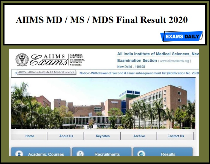 AIIMS MD MS MDS Final Result 2020
