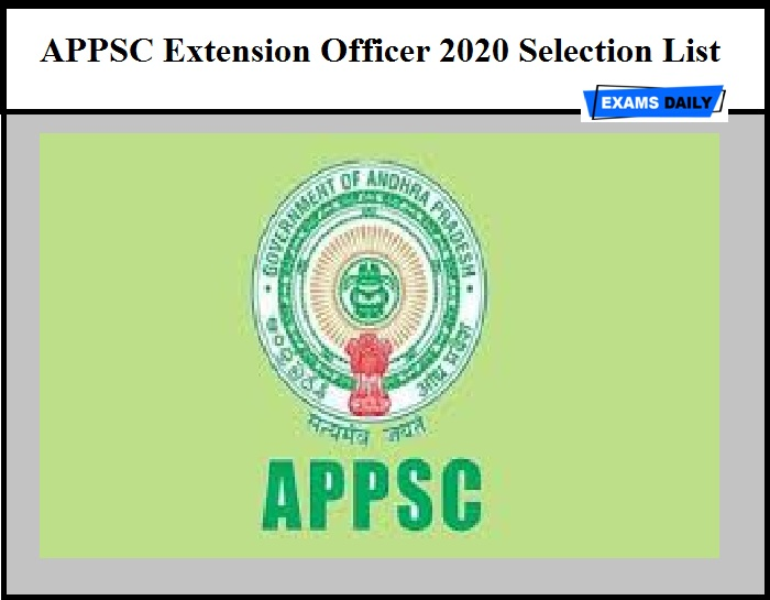 APPSC Extension Officer 2020 Selection List