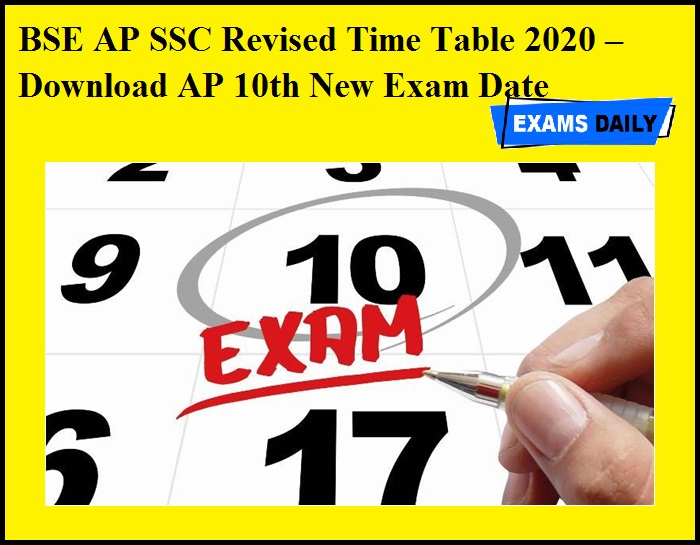 BSE AP SSC Revised Time Table 2020 OUT – Download AP 10th New Exam Date