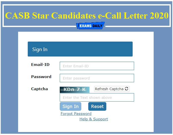 CASB Star Candidates e-Call Letter 2020