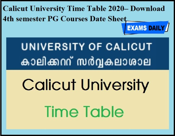 Calicut University Time Table 2020 OUT – Download 4th semester PG Courses Date Sheet