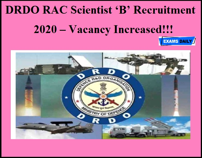 DRDO RAC Scientist 'B' Recruitment 2020(Out) – Vacancy Increased!!!.