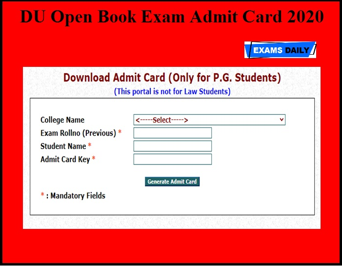 DU Open Book Exam Admit Card 2020 OUT