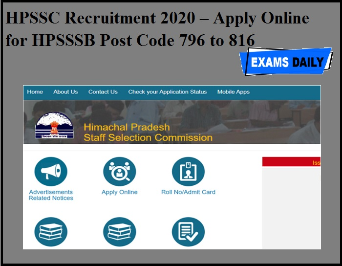 HPSSC Recruitment 2020 OUT – Apply Online for HPSSSB Post Code 796 to 816