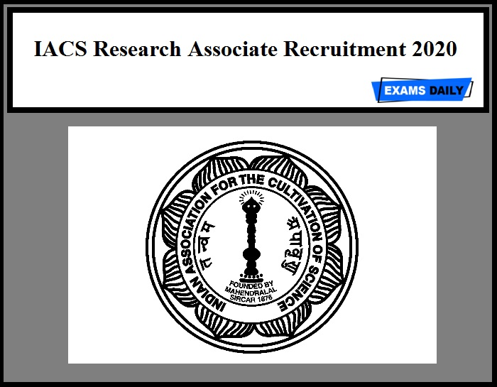 IACS Research Associate Recruitment 2020