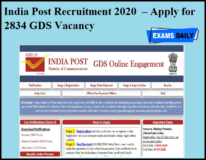India Post Recruitment 2020 OUT – Apply for 2834 GDS Vacancy