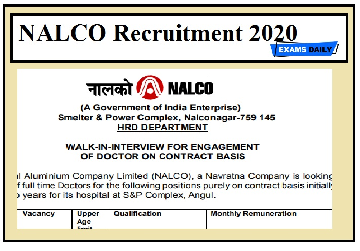 NALCO Recruitment 2020 Out – Apply Now!!!