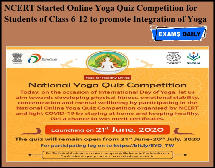 NCERT Started Online Yoga Quiz Competition for Students of Class 6-12 to promote Integration of Yoga