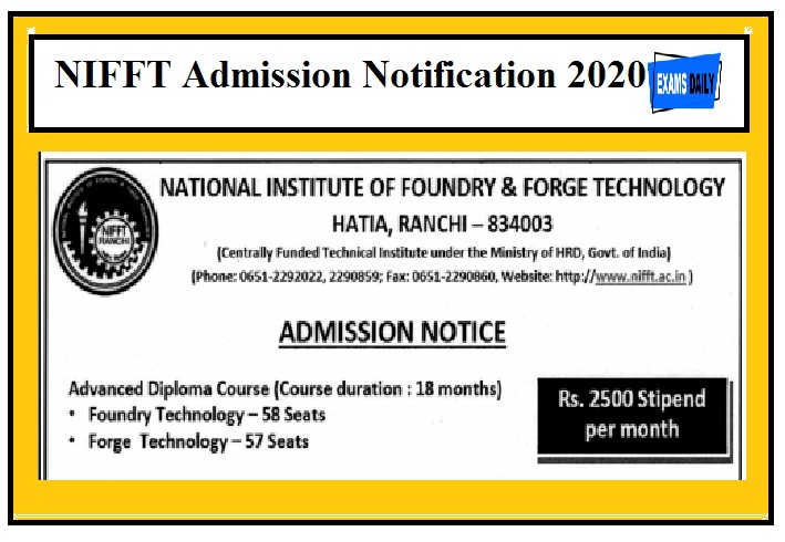 NIFFT Admission Notification 2020