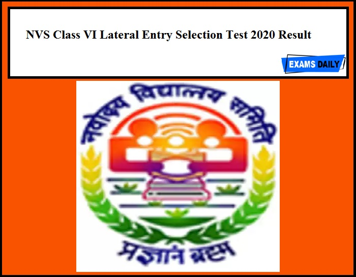NVS Class VI Lateral Entry Selection Test 2020 Result