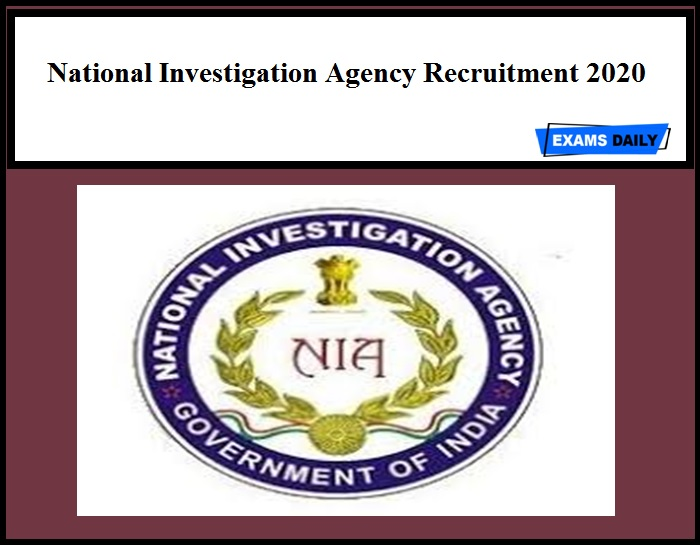 National Investigation Agency Recruitment 2020
