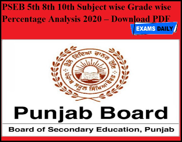 PSEB 5th 8th 10th Subject wise Grade wise Percentage Analysis 2020 – Download PDF