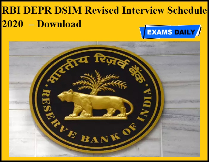 RBI DEPR DSIM Revised Interview Schedule 2020 OUT – Download