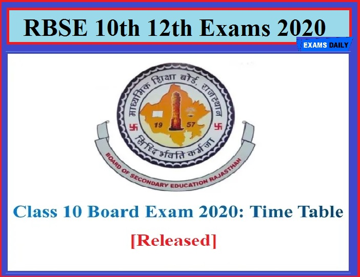 RBSE 10th & 12th Exams 2020(Started Today) – Download Pending Public Exam Details!!!
