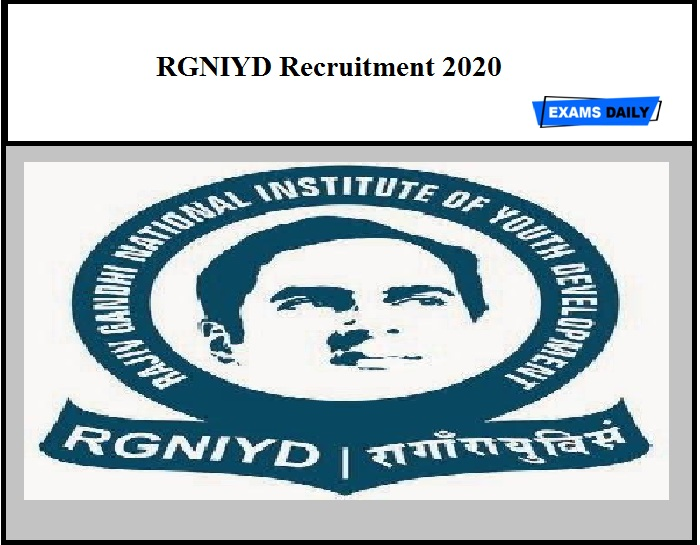 RGNIYD Recruitment 2020 – Apply for Consultant Post