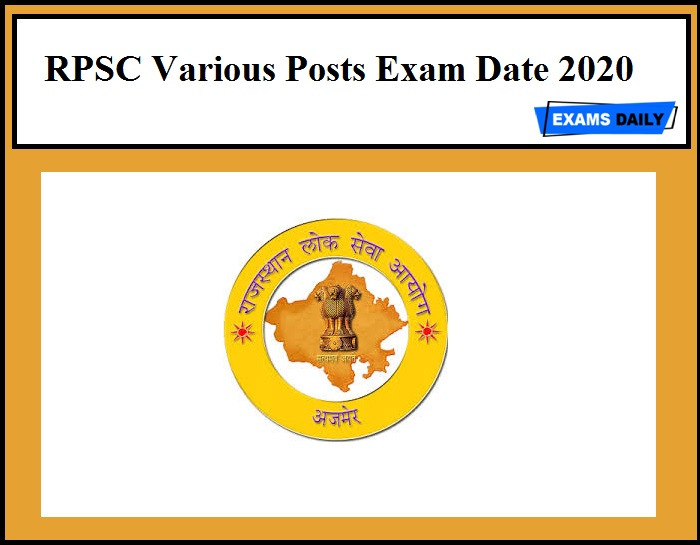 RPSC Various Posts Exam Date 2020
