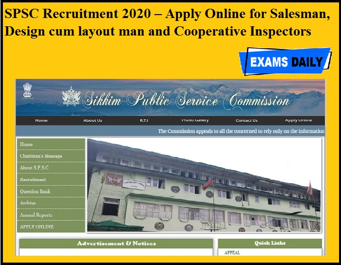 SPSC Recruitment 2020 OUT – Apply Online for Salesman, Design cum layout man and Cooperative Inspectors