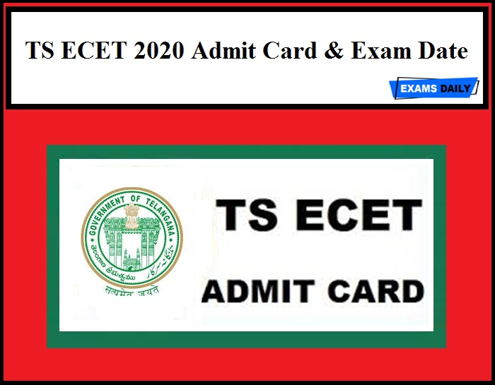 TS ECET 2020 Admit Card Available from June 27 to 30, 2020 & Exam Date