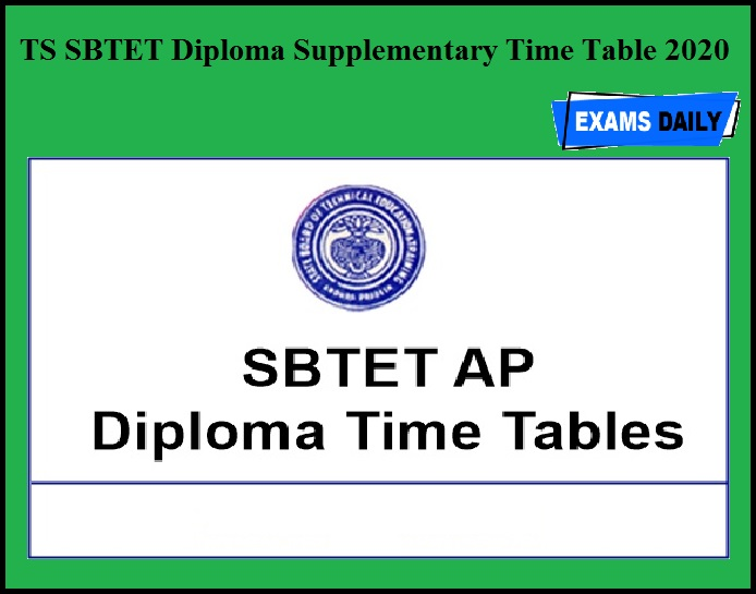 TS SBTET Diploma Supplementary Time Table 2020