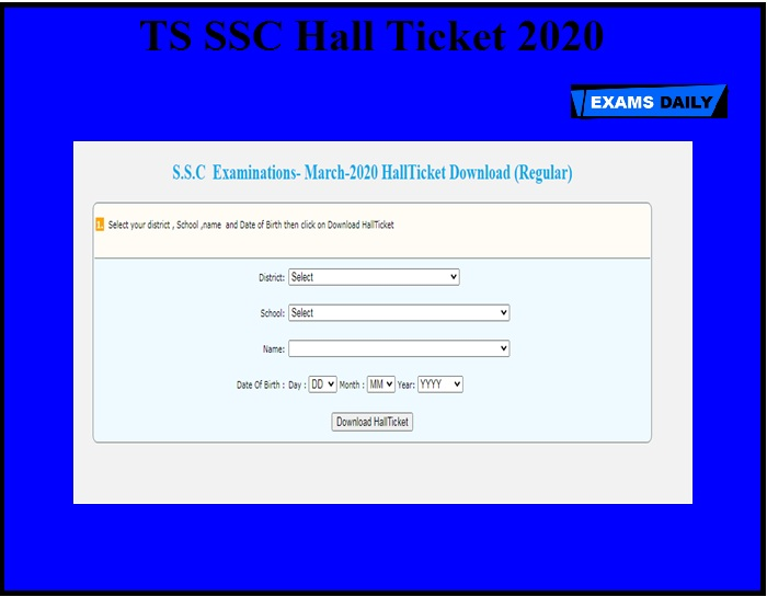 TS SSC Hall Ticket 2020 OUT