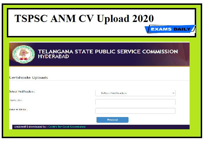 TSPSC ANM CV Upload 2020
