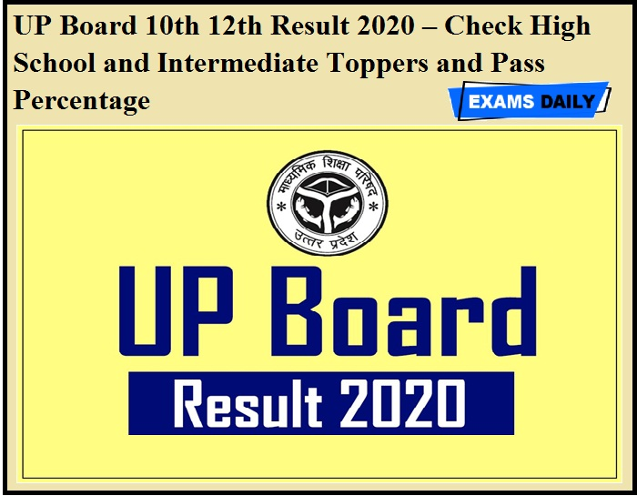 UP Board 10th 12th Result 2020 – Check High School and Intermediate Toppers and Pass Percentage