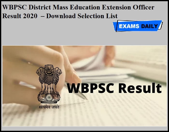 WBPSC District Mass Education Extension Officer Result 2020 OUT – Download Selection List