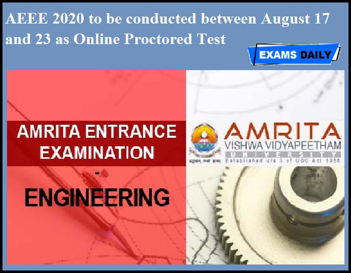 AEEE 2020 to be conducted between August 17 and 23 as Online Proctored Test
