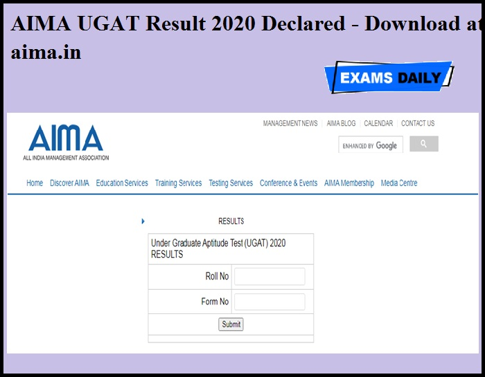 AIMA UGAT Result 2020 Declared - Download at aima.in