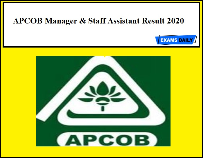 APCOB Manager & Staff Assistant Result 2020