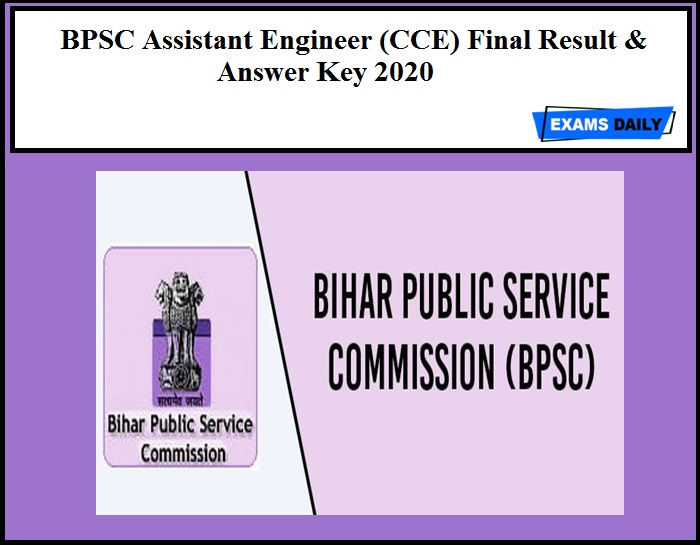 BPSC Assistant Engineer (CCE) Final Result & Answer Key 2020