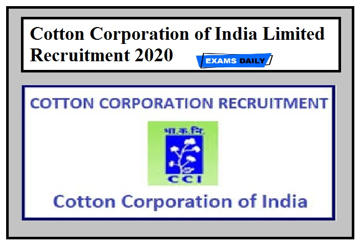 Cotton Corporation of India Limited Recruitment 2020
